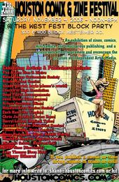Flier for the 2006 event held at the Westheimer Block Party. Art and design by Jarrod L. Perez.