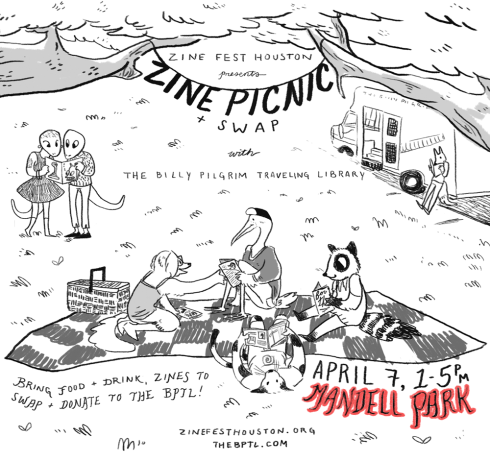Zine Picnic + Swap, Sunday April 7th, 1-5pm, Mandell Park